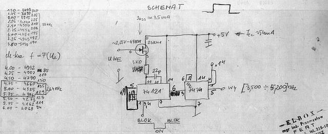 The schematic diagram of the high linearity VCO subcarrier generator - 1984, Elboxrf